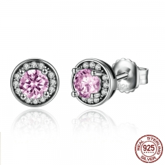 New Arrival 100% 925 Sterling Silver Pink Stone Round Push Back Stud Earrings for Women Fashion Jewelry SCE023-1L EARR-0092